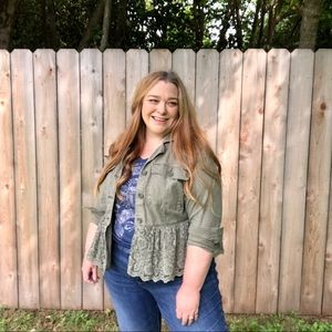 Lane Bryant | Distressed Green Lace Utility Jacket